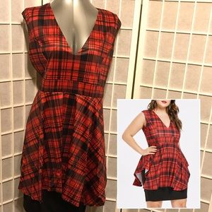 Dresses & Skirts - Plaid Plunging Neck Bodycon Dress - Red Wine - 5X